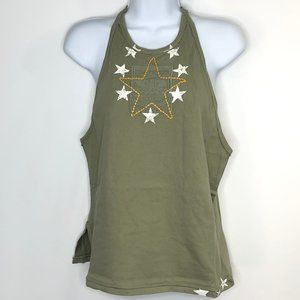 NWT Free People Army  Embroidered Tank Top